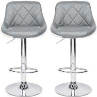 2 pcs leather rotatable bar stool arc shaped adjustable height bar stool kitchen counter Grey - Grey