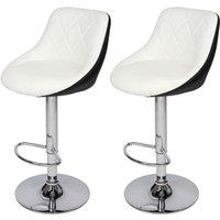 2 pcs modern bar stool adjustable height 360°rotating bar stool kitchen counter White - White