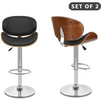 2 PCS Modern Wooden Frame Leather Padded Executive Adjustable Swivel Bar stool Breakfast Kitchen Dining Stool Forest Island Counter (Black and Walnut)