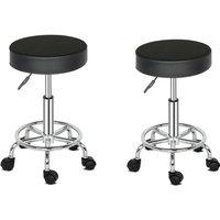 2 pcs salon swivel stool adjustable round massage stool for beauty kitchen office work chair Black - Black