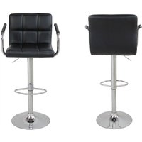 2 pcs square bar stool modern adjustable rotating chair with backrest armrest leisure chair suitable living room kitchen office Black - Black