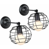 2 Piece Antique Round Wall Light Metal Cage Wall Lamp Retro Chandelier Metal Iron Wall Sconce Black for Bedroom Cafe Bar Office