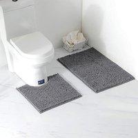 Perle Raregb - 2 Piece Bath Mat / Toilet Mats Set, Soft Absorbent Thick Chenille Non-Slip Toilet Mat for Bathroom / WC, Machine Washable (Dark Gray)