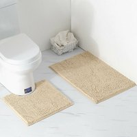 2 Piece Bath Mat / Toilet Mats Set, Soft Absorbent Thick Chenille Non-Slip Toilet Mat for Bathroom / WC, Machine Washable (Light Brown)