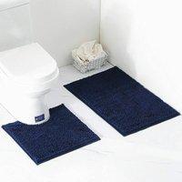 Perle Raregb - 2 Piece Bath Mat / Toilet Mats Set, Soft Absorbent Thick Chenille Non-Slip Toilet Mat for Bathroom / WC, Machine Washable (Navy Blue)