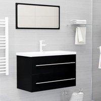 Betterlifegb - 2 Piece Bathroom Furniture Set Black Chipboard37517-Serial number
