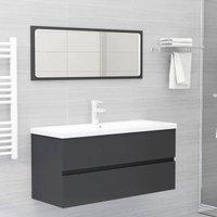 Betterlifegb - 2 Piece Bathroom Furniture Set Grey Chipboard37566-Serial number