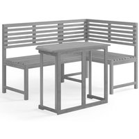 2 Piece Bistro Set Solid Acacia Wood Grey - Grey - Vidaxl
