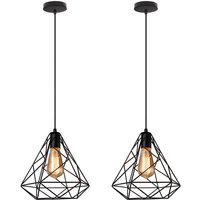 2 piece Classical Diamond Pendant Light Black Antique Chandelier Metal Industrial Hanging Light for Bedroom Cafe Bar