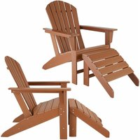 Set of 2 garden chair Janis with footstool Joplin - sun lounger, garden lounger, plastic garden chair - brown
