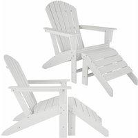 Tectake - Set of 2 garden chair Janis with footstool Joplin - sun lounger, garden lounger, plastic garden chair - white - weiß