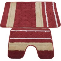 2 Piece Striped Bath Mat/Rug and Pedestal Mat Set (One Size) (Red/Beige) - UNIVERSAL TEXTILES