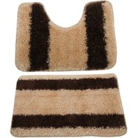 2 Piece Striped Shaggy Bath Mat And Pedestal Mat Set (One Size) (Cream/Brown) - UNIVERSAL TEXTILES