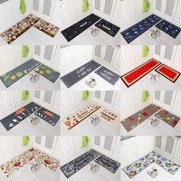 2 Pieces Non Slip Kitchen Mat Set Rubber Backing Doormat Runner Rug Set, Kitchenware Design (Grey 15x47+15x23)
