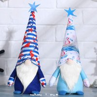 2 Pieces Summer Plush Gnome Blue Ocean Gnomes Farmhouse Plush Elf Decorations Rustic Scandinavian Tomte Swedish Gnome for Tiered Tray Home Summer