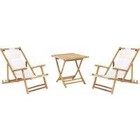 Beliani - 2 Seater Garden Bamboo Set Folding Sun Loungers and Coffee Table Atrani/Spello