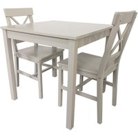 2-Seater Grey Malaren Dining Set, Chair W41xD50xH87 cm and Table W75xD75xH73 cm - Grey