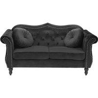 Beliani - Glam Living Room 2 Seater Velvet Sofa Nailhead Trim Button Tufted Black Skien