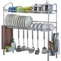 2 Storey Drainer Grate Dish Basket Dish Rack Stainless Steel Holder Kitchen Bowl