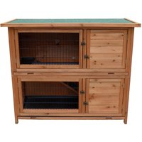 2-Story Luxury Rabbit Hutch Wood Pet House Guinea Pig Hamster - WILTEC