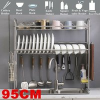 2 Teir 95cm Stainless Steel Dish Drainer Over Sink Dish Drying Rack All-in-One Drainer Functional Support Shelf for Home Kitchen