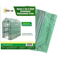 Replacement Polyethylene Plastic Cover for 2 Tier 8 Shelf Walk In Greenhouse, Garden Grow House - 49 W x 74 D x 75 H - Green