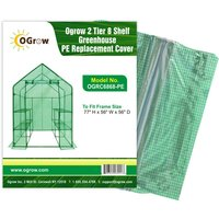 Replacement Polyethylene Plastic Cover for 2 Tier 8 Shelf Walk In Greenhouse, Garden Grow House - 77