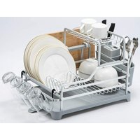 2 Tier Aluminum Dish Drainer with Drip Tray, Cup Holder, 3 Compartment Utensil Rack (Silver)
