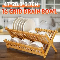 2 Tier Bamboo Foldable Dish Drainer Quick Dry Countertop Wooden Dish Drainer
