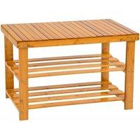 Shoe rack bamboo with bench - shoe bench, shoe shelf, wooden shoe rack - brown