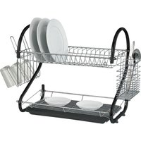 2 Tier Black Chrome Plate Dish Cutlery Cup Drainer Rack Drip Tray Plates Holder