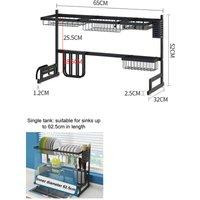2 Tier Dish Drainer Rack Storage Drip Tray Sink Drying 65CM