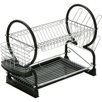 2 Tier Dish Drainer,Chrome/Black Enamel Coated Frame,Glass and Utensil Holder/Removable Black Plastic Drip Tray