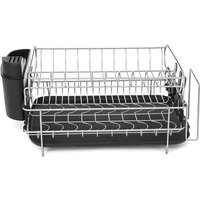 2-Tier Dish Drying Holder Rack Plate Chrome Drainer Tray Holder 52*44*25cm Black