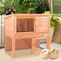 2 Tier Fir Wood Rabbit/Guinea Pig Hutch Run Cage with Sliding Tray, Medium - LIVINGANDHOME