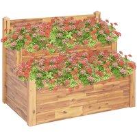2-Tier Garden Planter 110x75x84 cm Solid Acacia Wood - Brown