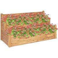 2-Tier Garden Planter 160x75x84 cm Solid Acacia Wood - Brown