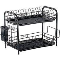 2 Tier Kitchen Dish Drainer Dry Rack Plate Bowl Cutlery Sink Holder Storage black 56*35*23cm