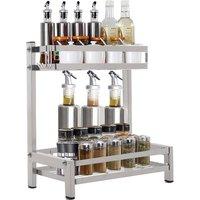 2 Tier Kitchen Storage Table Top Free Standing Spice Rack Jar Holder Organizer