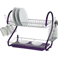 2 Tier Purple Chrome Plate Dish Cutlery Cup Drainer Rack Drip Tray Plates Holder