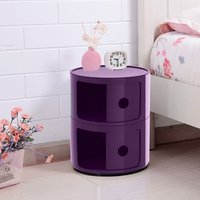 2 Tier Round Storage Unit Side Corner Cabinet Bedside Table Chest Drawers Purple - LIVINGANDHOME