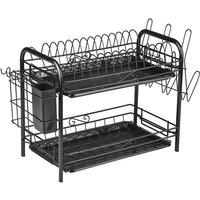 2-Tier Rustproof Dish Drying Rack Carbon Steel Dish Rack Multifunctional Organizer Dish Drainer with Drainboard Hooks Utensil Holder,model:Black with