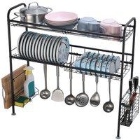 2-Tier Sink Dish Drying Rack, Stainless Steel Kitchen Storage Organize Stand Shelf with Utensil Holder Hooks (Black)