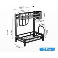 Kingso - 2 Tier Spice Rack Kitchen Countertop Storage Organizer Stainless Steel Holder 40.5x35.5x23cm