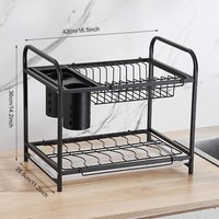 Maerex - 2 Tier Stainless Steel Dish Drying Cutlery Drainer Kitchen Storage Rack Holder Black