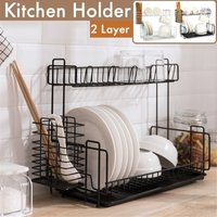 2 Tier Stainless Steel Dish Drying Rack Kitchen Drying Rack Non-slip with Chopstick Rack (Black)