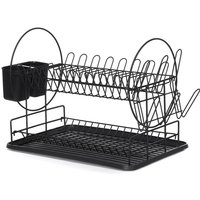 2 Tiers Dish Drainer Cutlery Cup Drying Holder Rack Chrome Drainer Tray Kitchen Black