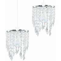 2 x Chandelier Ceiling Pendant Light Shades with Clear Acrylic Jewel Droplets - Add LED Bulbs - Silver