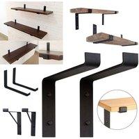 2 x Industrial Rustic Scaffold Board Brackets Heavy Duty Steel Shelf Bracket - LIVINGANDHOME