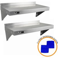 2 x Stainless Steel Shelves 1940mm x 300mm - Kukoo
